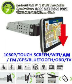 1 Din Android 8.1 9 Rotatable Quad-core 2+32G Car WiFi Stereo Radio GPS OBD DAB