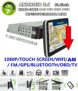 10.1 1Din Rotatable Touch Screen Head Unit Car GPS Navs MP5 Player Stereo Radio