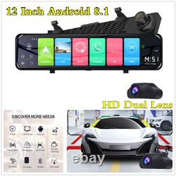 12 Android 8.1 Car DVR Dual Lens Front Rear View Mirror Dash Camera GPS 4G Wifi