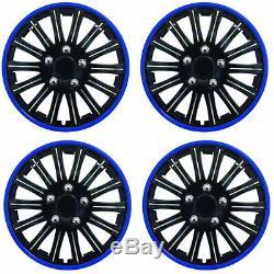 14 Inch Lightening Sports Wheel Cover Trim Set Black With Blue Ring Rims (4Pcs)