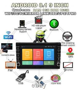 1Din Car Multimedia Player 9in Stereo Video GPS WiFi Radio Android 8.1 With Camera