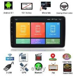 2DIN Rotatable 10.1 Android 9.1 Car Stereo Radio GPS Wifi MP5 FM Bluetooth 16GB