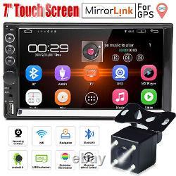 7'' HD Touch Screen 2Din Car Radio MP5 FM AUX Player Bluetooth USB + Free Camera