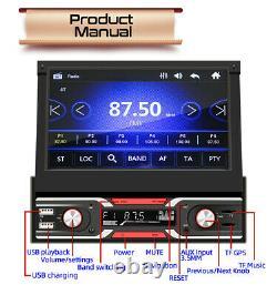 7in Single Din Car Radio Stereo MP5 Player GPS Navigation AUX USB FM Bluetooth