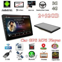 Android 9.1 4-Core Double 2DIN 9 Car Stereo Radio Sat Nav GPS MP5 Player 2+32GB