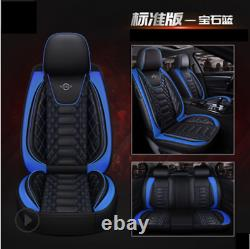 Black&Blue Plaid PU Leather 6D Car Seat Covers Front Rear Car-Styling Seat Cover