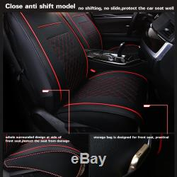 Black/Red Car 5-Seats SUV PU Leather Seat Cover Front+Rear withNeck Lumbar Pillow
