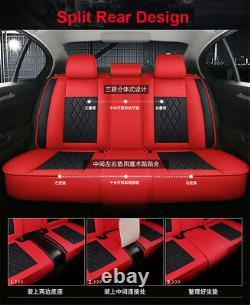Black/Red Luxury PU Leather Seat Mat Four Seasons Universal Car Seat Cover Pad