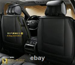 Black/White PU Leather Front & Rear Full Set Car Seat Cover Cushion Protectors