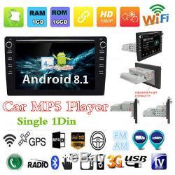 Bluetooth Car GPS Sat Nav Android 8.1 9 1Din Car MP5 Player Stereo Radio 1+16G