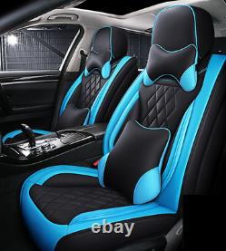 Deluxe Edition Black/Blue Leather Car Full Set Seat Cover Interior Accessories