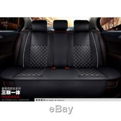 Deluxe Edition Black PU Leather Car Seat Covers Front+Rear withNeck Lumbar Pillows