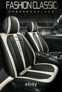 Deluxe Edition Leather Full Surrounded 5-Seats Car Seat Cover Cushions + Pillows