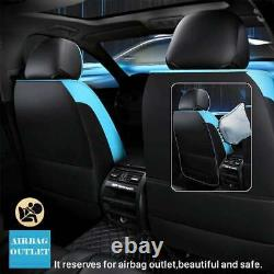Deluxe Edition PU Leather 5-Seats Sedan Car Seat Cover Front+Rear Set Blue/Black