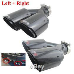 Dual Tube Carbon Fiber Exhaust Tip Dual Pipe ID2.5 63mm OD3.5 89mm L+Rside