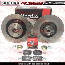 For Renault Clio Sport 197 200 Rear Abs Bearing Drilled Brake Discs Mintex Pads