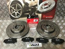 Front Drilled & Grooved Brake Discs & Brembo Pads Fit Renault Clio Sport 172 182