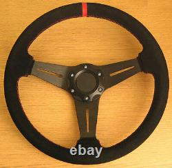 Genuine Leather Sports Steering Wheel with Red Stitch and Suede Finish 350mm