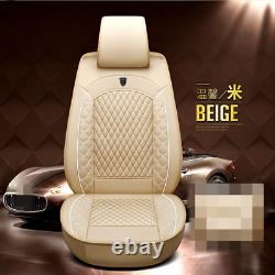 Luxury Breathable PU Leather Car Seat Cover Cushion Warm Beige Full Set Covers