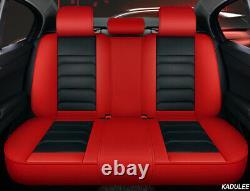 Luxury PU Leather Mat Four Seasons Full Car Seat Cover Cushion Pad Set Red/Black