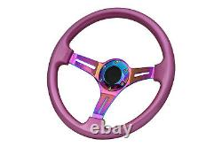 Pink Neo Chrome TS Aftermarket sports steering wheel 350mm 6x70mm