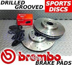 RENAULT CLIO SPORT 280MM Drilled & Grooved FRONT Brake Discs BREMBO Pads