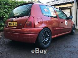 Renault Clio Phase 1 Flame Red 172 Sport Hill Climb Race Car including Trailer