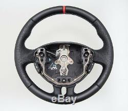 SPORT Lenkrad beziehen mit Leder für Renault Clio III 2005- NEU LEDER schwarz