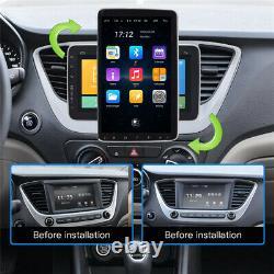 Single 1 DIN Car Rotatable 9'' Android 9.1 Stereo Radio BT GPS WiFi Mirror Link