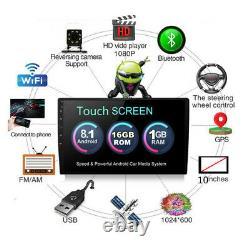 Single 1-Din Android 8.1 10.1inch Car Stereo Radio GPS Nav Wifi BT DAB OBD 1+16G