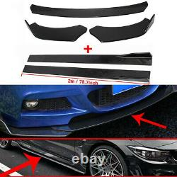 Universal Car Front Bumper Lip Spoiler Chin Splitter + Side Skirt Extension 9Pcs